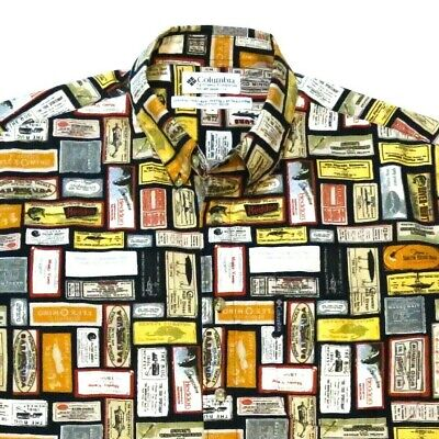 Columbia Vintage Fishing Lures Size Medium Button Down Shirt Advertising Labels