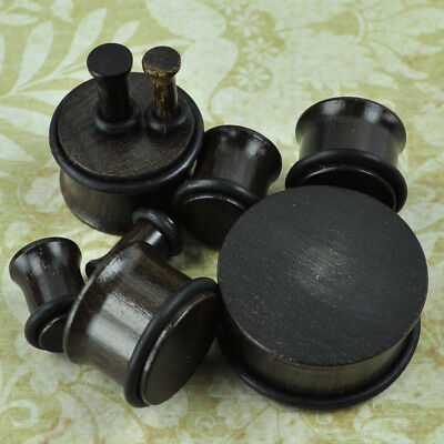 - Ebony Single Flare Natural Organic Wood Ear Gauges Plugs