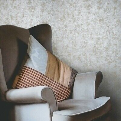 - Wallpaper textured roll Beige Silver Metallic rustic foil plain Concrete plaster