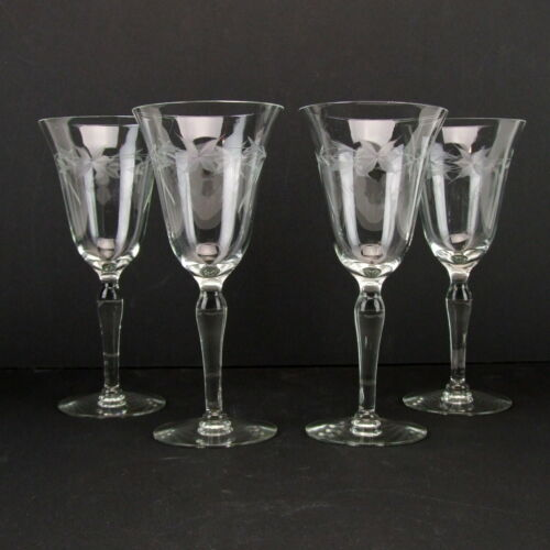 Vintage Elegant Glass Stemware Etched Optic Wine Champagne Glasses Set of 4 EUC