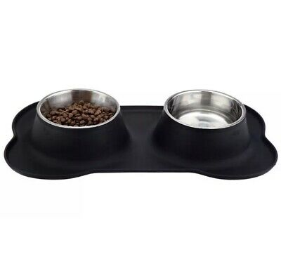 Dog Food & Water Bowl/Tray Set Silicone Black Cat Pet Feeding No Spill (Black Dog Bowl)