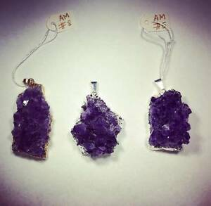Natural Amethyst Necklace with silver chain Dundas Parramatta Area Preview