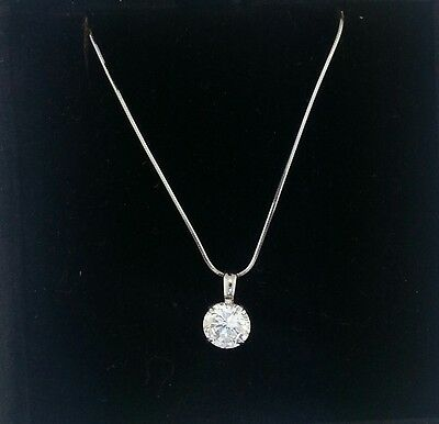 14k Gold Round Snake Pendant (2 Ct Round Cut 14K White Gold Solitaire Pendant Necklace Snake Chain )