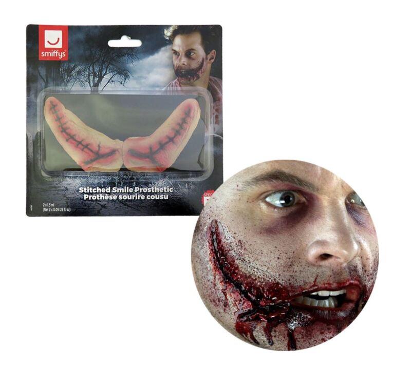 Halloween Joker Jester Clown Sinister Easy Stitched Cut Smile Skin SFX Make up
