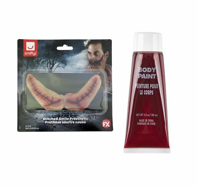 Halloween Joker Clown Stitched Smile Latex SFX + 100 ml Fake Blood Make up Kit (Joker Kostüme Make Up)