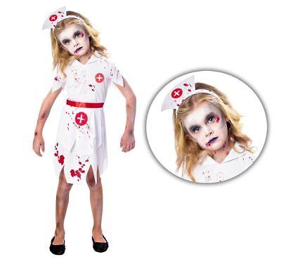 Girls Nurse Costume (Girls Zombie Scrub Nurse Costume Kids Halloween Horror Fancy Dress Outfit)