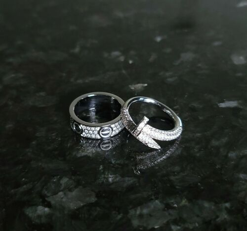 love screw nail ring set full crystal