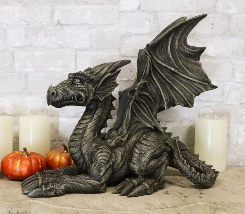 Ebros Large Stone Finish Crouching Skinny Winged Dragon Gargoyle Sentry Statue