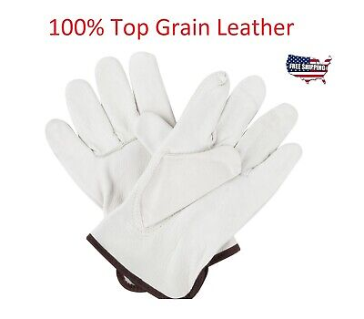 Top Quality Leather Work Gloves Genuine Top Grain Cowhide Driver Xl