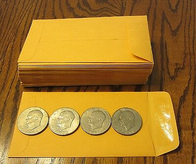 100 Small Kraft Coin Envelopes Size 3.5 X 6.5 Seed Jewelry Parts 7 Stamps