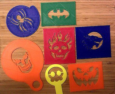 Coffee Stencils - Halloween - Spider, Skulls, Wolf, Scary Face,