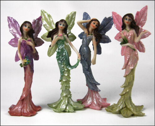 "5"" Flower Fairies - Set of 4 Fairies (purple, green, blue and pink)"