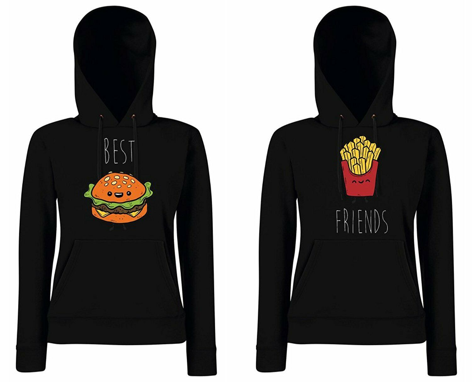 "Hoodie SET ""BURGER & POMMES"" BFF Best Friends sister blondie brownie xo Pullover"