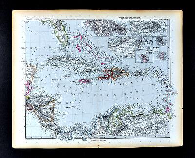 1892 Petermann Map West Indies Caribbean Cuba Guadeloupe Martinique Puerto Rico