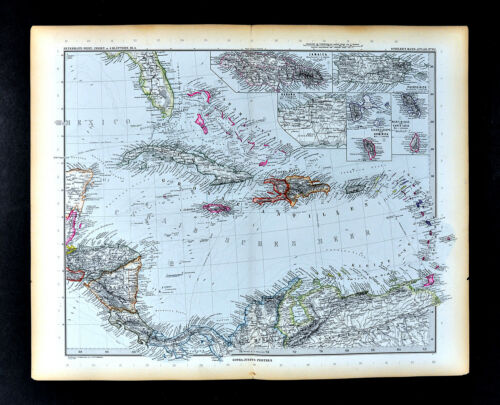 1892 Petermann Map West Indies Caribbean Cuba Guadeloupe Martinique Puerto Rico