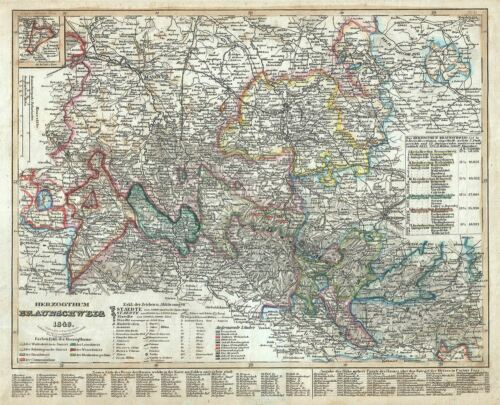 1849 Meyer Map of the Duchy of Brunswick, Germany
