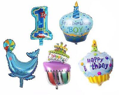 5 x Folienballon BOY Geburtstag Baby Party Luftballon Set Cupcake 1 Jahr Kind
