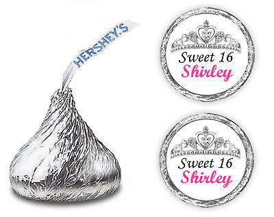 108 SWEET 16 SIXTEEN PARTY FAVORS PERSONALIZED KISSES LABELS KISS CROWN TIARA