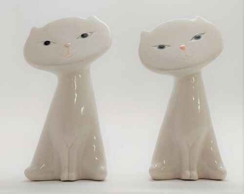 Pair Of Vintage Whimsical White Ceramic Cat Figurines with Blue Eyes Pink Nose