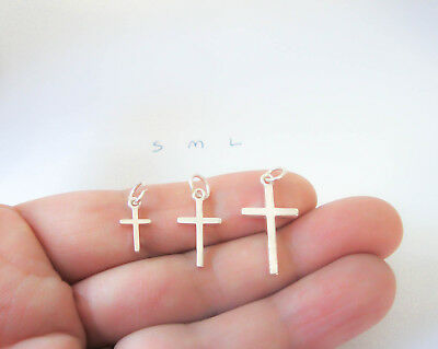 Sterling Silver Plain Cross Charm / Pendant Small Medium or Large  Made in USA