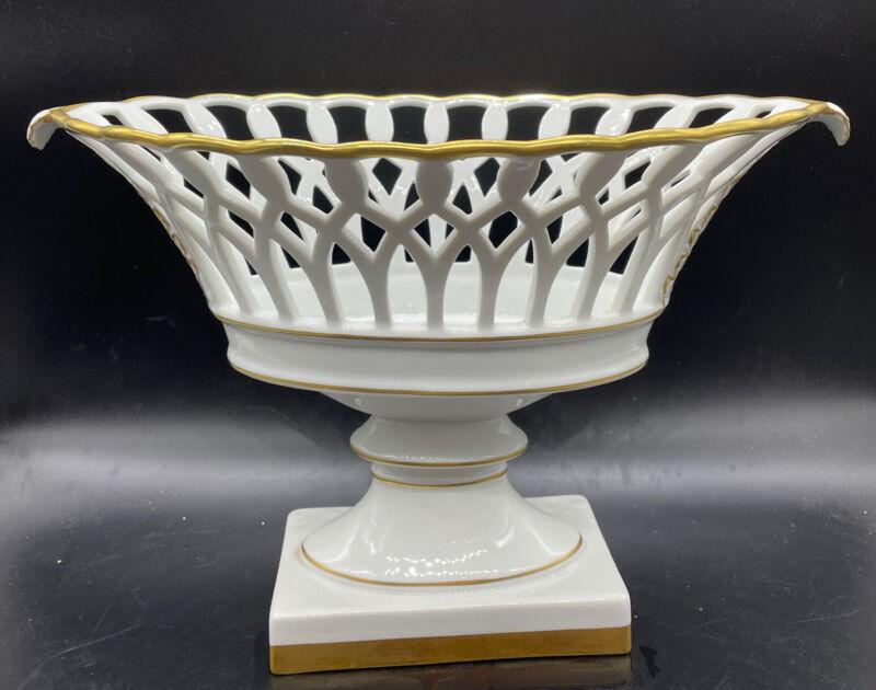 Vintage Vista Alegre Mottahedeh Reticulated Center Pedestal Bowl