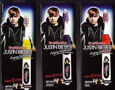 10 Lot Justin Bieber Singing Toothbrushes Nib 2 Songs Each Red Purple Yellow