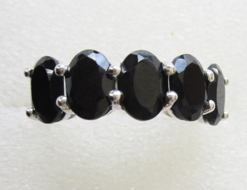 Black Spinel 4.25cts, Five Stone Ring in Sterling Silver sz 11