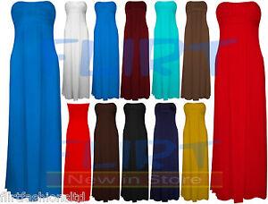 Womens-Boobtube-Sleeveless-Bandeau-Knot-Front-Maxi-Ladies-Dress-Plus-Size-16-20