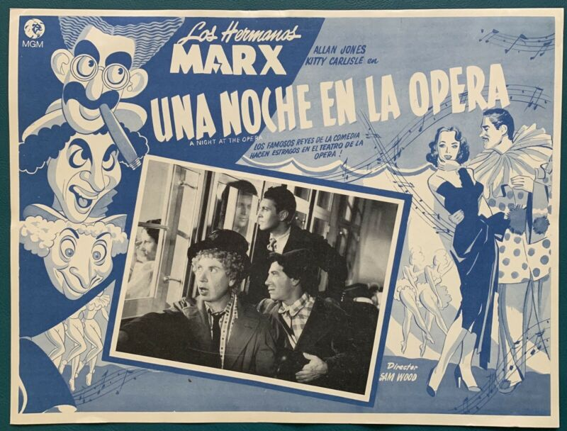 A NIGHT AT THE OPERA The Marx Brothers MEXICAN LOBBY CARD 1935