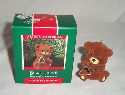 VTG Hallmark 1989 Christmas Ornament Bear I Tone Flocked Felt Teddy Instrument