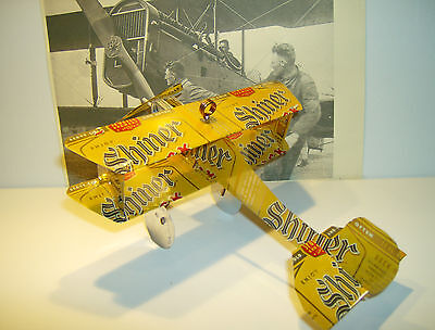 SHINER BOCK True 2 Texas AIRPLANE Made from REAL Beer can Neon Sign Cool PLANE