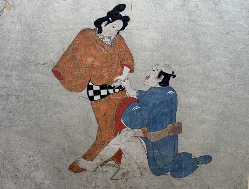 Original Japanese SHUNGA Erotic Art Scroll Painting on Paper Very Old 1700s EDO