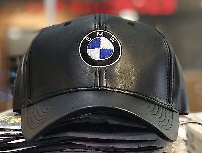BMW Mpower Pu Leather baseball Cap Hat black Adjustable size embroidered (Black Leather Baseball)