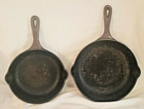 2 LE CREUSET 20 & 23 CAST IRON BROWN SKILLETS FRYING PANS FRANCE COOKWARE AS IS