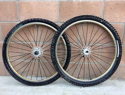 "Spinergy Spox MTB 26"" Wheelset Vectran spokes Al Hubs w Machined Rims Gold Black"