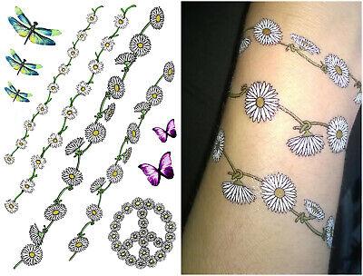 Daisy Chain Fancy Dress Festival Temporary Tattoos Hippy, Flower Power, - Flower Fancy Dress Kostüm