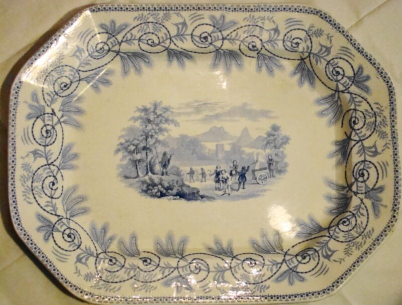 Staffordshire Transferware Thomas Godwin Seasons Blue Transfer Meat Dish Platter