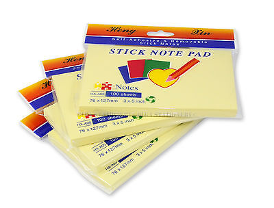 400 SHEETS 4-PACK 3X5 Sticky Notes Self-Stick Pad Yellow Lot Paper Book