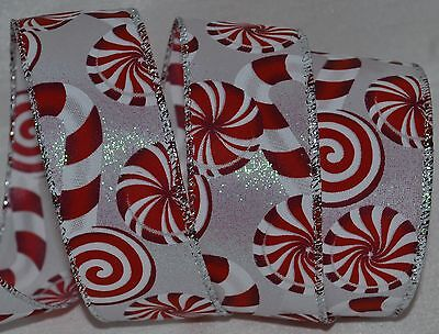 Christmas Wired Ribbon (Wired Ribbon~Christmas Red & White Candy)