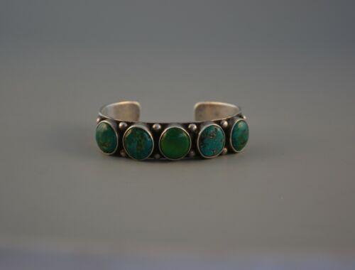 "Old Early Navajo Heavy Ingot Silver Bracelet - 5 Turquoise Stones - 7 3/8"" @"