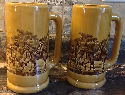 2 VINTAGE BEER TANKARDS STEINS MAN WOMAN RIDING HORSES DOGS