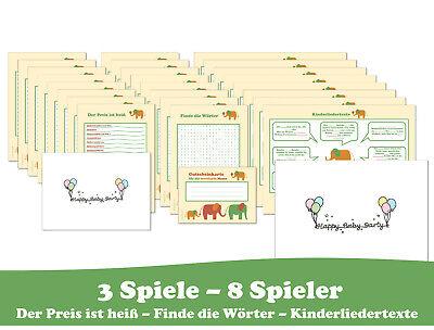 Babyparty Spiele-Set Elefanten mit 3 Spielen für je 8 Spieler