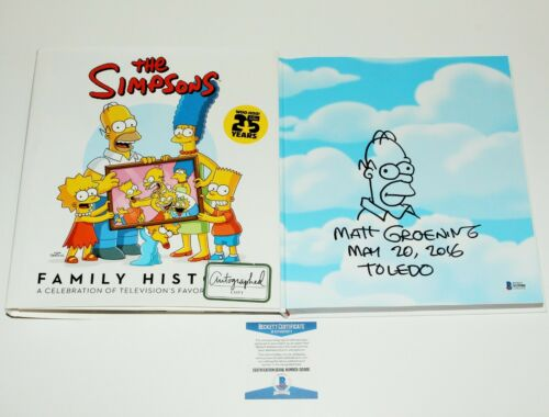 Matt Groening The Simpsons Family History Signed Autograph Homer Sketch Book COA