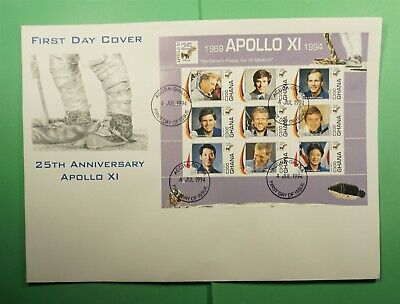 DR WHO 1994 GHANA FDC SPACE APOLLO 11 ANIV CACHET S/S  Lg15782