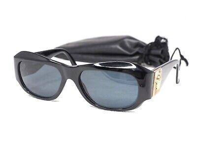 0a1eca2a73 GIANNI VERSACE vintage S95 black gold sunglasses rectangular oval medusa  head