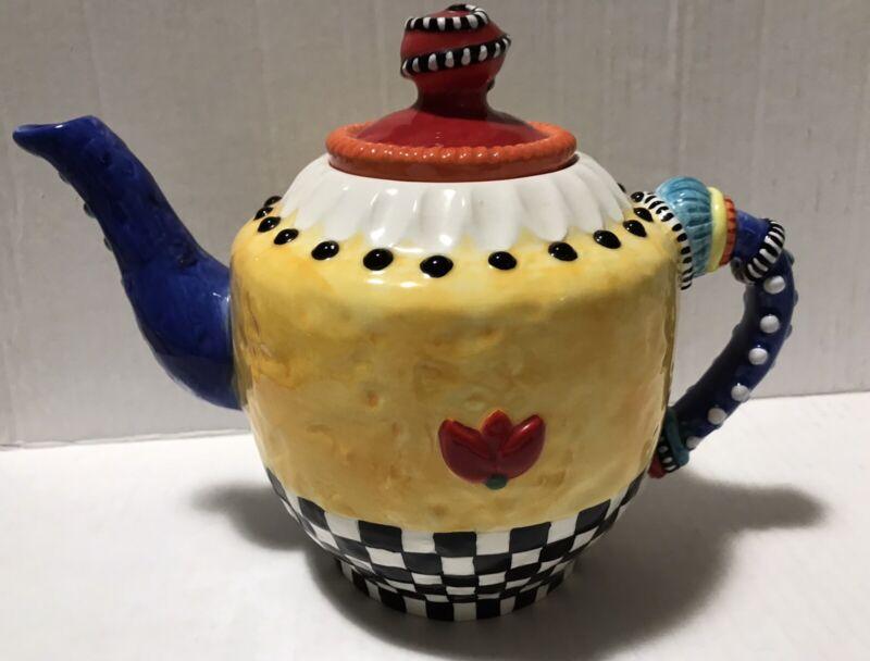 Judie Bomberger Teapot Mackenzie Childs Style Checkered Ceramic Art Multicolor