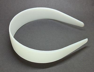 "25 White Plastic Headbands 35mm 1 3/8"" Bulk Head Hair Band Unfinished Blanks DIY"