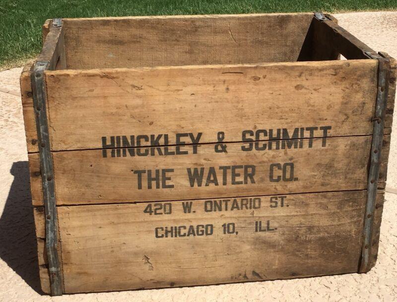 VINTAGE HINCKLEY & SCHMITT WATER CO. CRATE WOODEN HISTORICAL CHICAGO