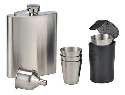 4 Becher Geschenkbox Trinkflasche Edelstahl Flachmann Set von Gentelo Schwarz