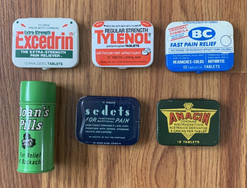 Vintage Pain Reliever Advertising Tins - Excedrin, Tylenol, BC, Anacin, Sedets